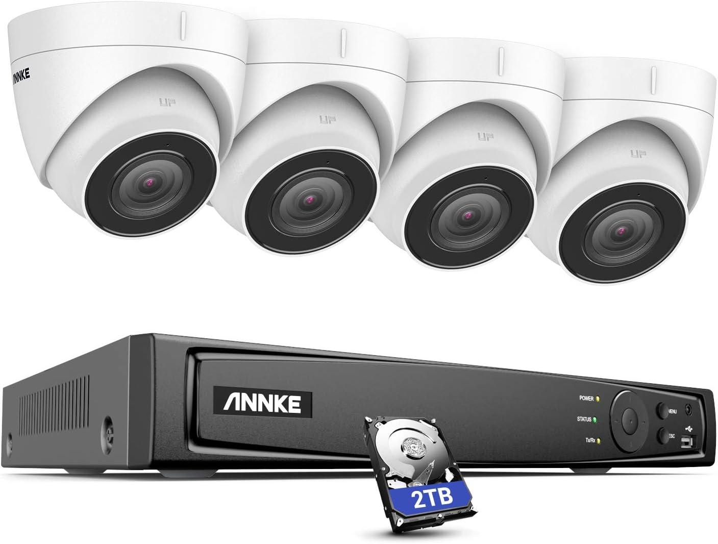 Annke H800 4k Poe Überwachungskamera Set Mit Audioaufnehmen 8mp Video Überwachungssystem Mit 4x 8mp Ip Dome Kameras H 265 8ch Onvif Nvr Rekorder Mit 2tb Festplatte Baumarkt