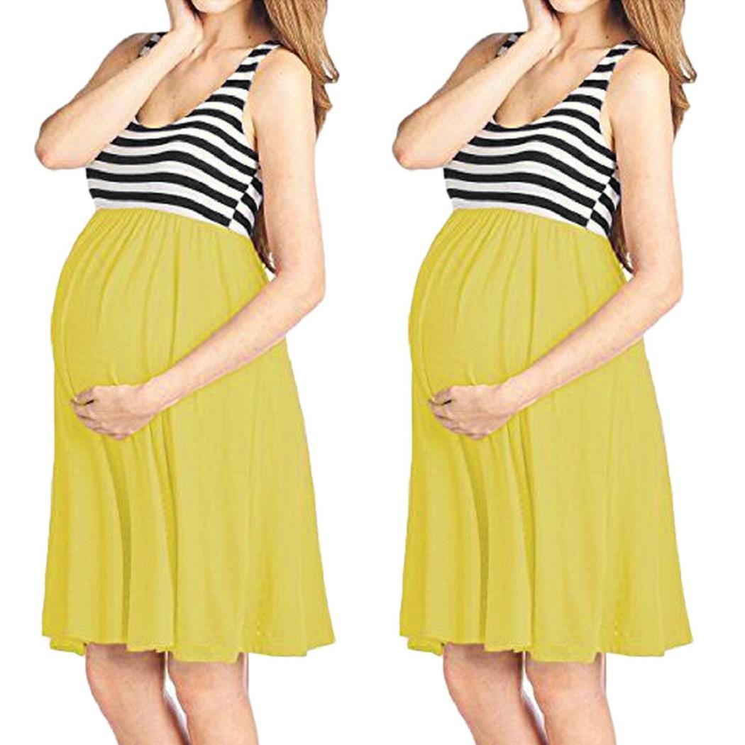 d457e6cc9e Amazon.com  Women Dress ShenPr Summer Sleeveless Stripe Nursing Maternity  Knee Length Vest Tank Dress Maternity Dress (XL