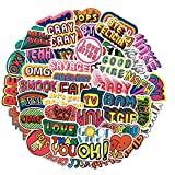 50 Phrase Waterproof Stickers Set for