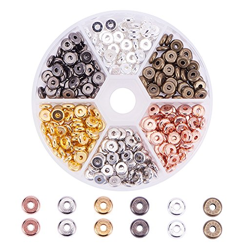 PH PandaHall 300pcs 6 Color 6mm Flat Round Brass Rondelle Spacer Beads Jewelry Metal Spacers for Bracelet Necklace Jewelry Making