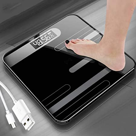 FENGZTT Body Fat Scale USB Household Electronic Scale LCD Display Bathroom Floor Body Weighing Scales Measuring Digital Scales!,Black