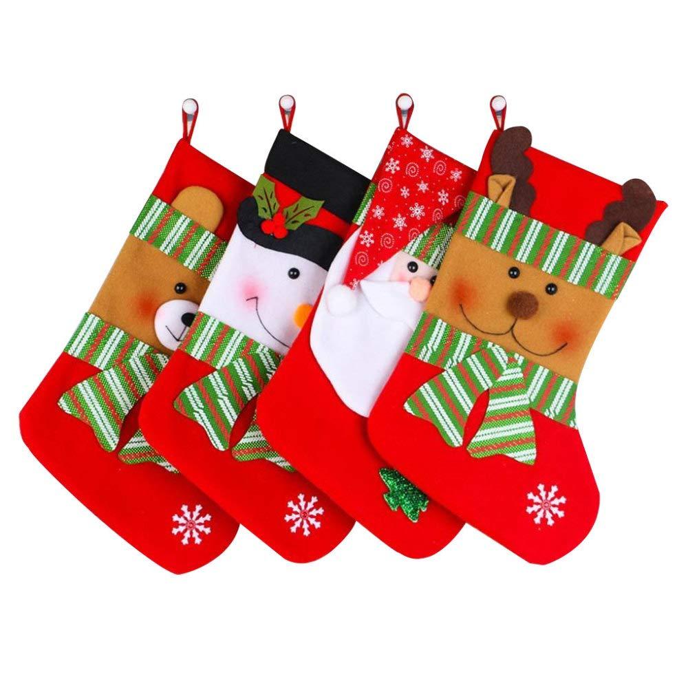 XDDQ Weihnachtssocken,Socken Die Geschenke Weihnachtsschmuck ,Weihnachten Socken Streifen Kinder Geschenk Tasche Weihnachten Dekoration 4 St/üCk