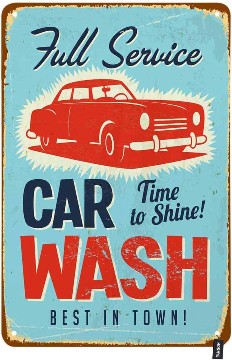 Hosnye Autowasch Blechschild Vintage Autowäsche Rot Auto Blau Hintergrund Waschgeschäft