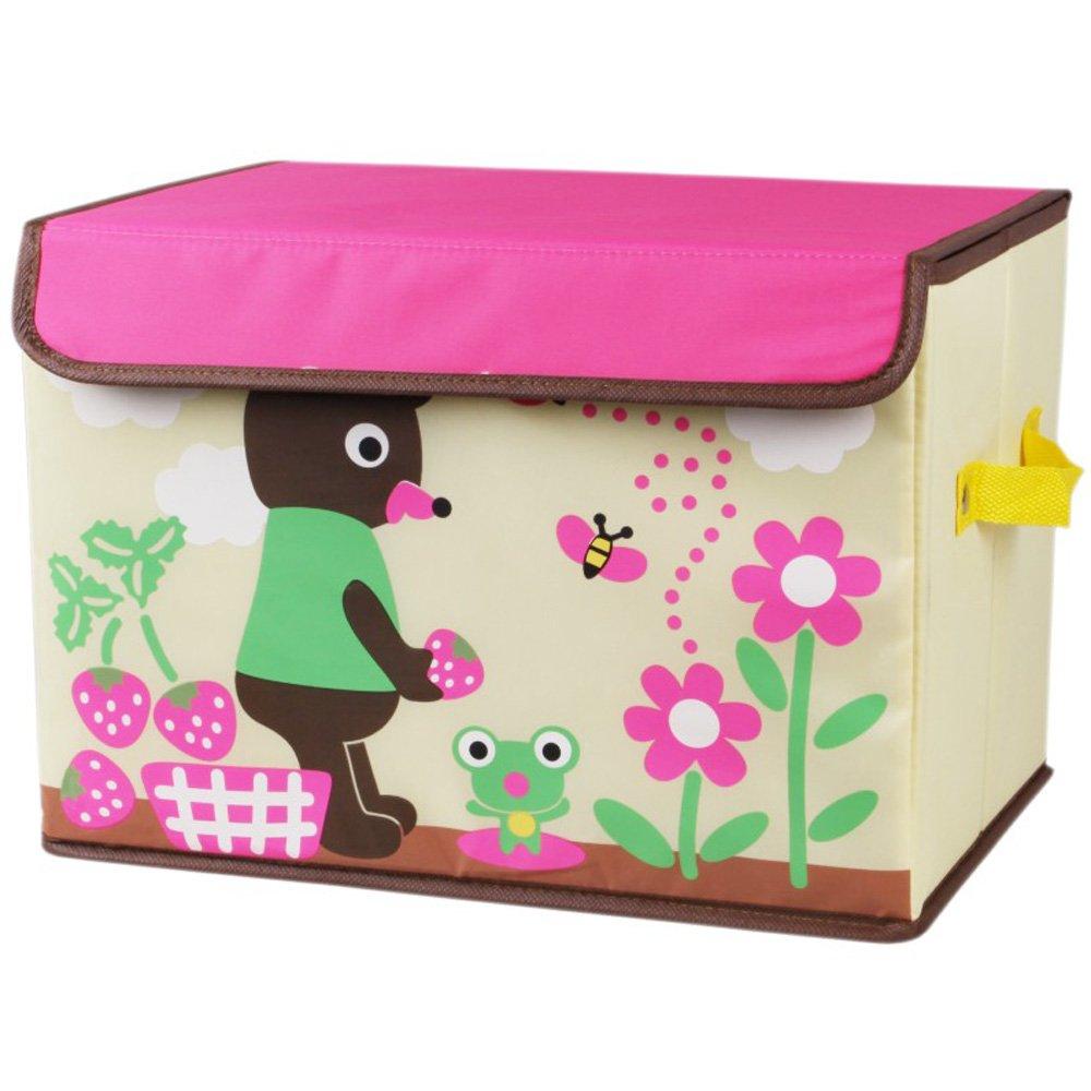 万波龙 印花卡通收纳箱 储物盒 整理箱 儿童玩具收纳箱 (草莓小熊, 38