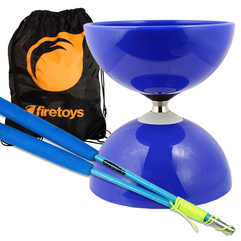 Blue Big Top - Jumbo Bearing Diabolos Set, Blue Superglass Diablo Sticks, Diabolo string & Bag! by Juggle Dream