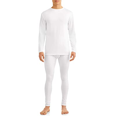 Comfort Fit Men's 2-Piece Microfiber Fleece Lined Thermal Underwear Set top and Bottom (Long Johns) Size 2 XL White at Men's Clothing store