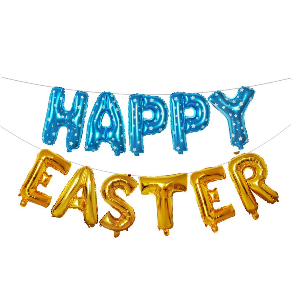 Improvlify 16 inch Large Happy Easter Day Foil Balloon Set Banner Bunting Party Decoration 25 Choice