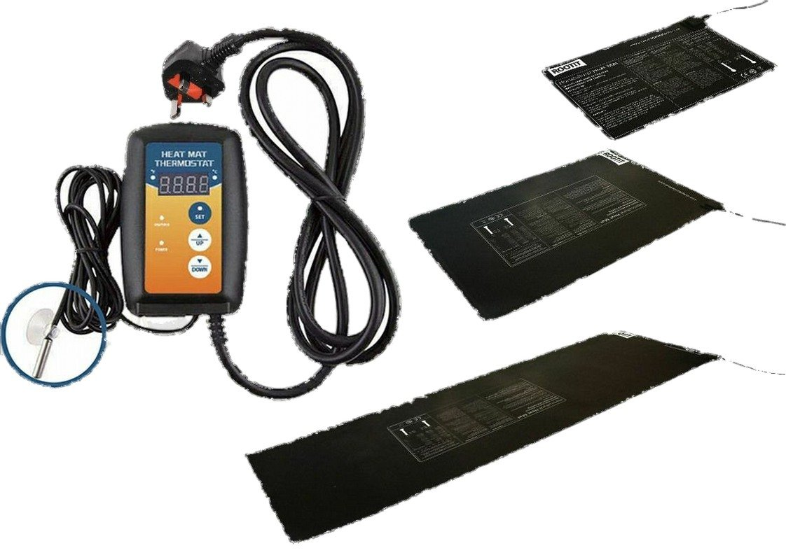Root It Hydroponics Heat Mats & Thermostat Heated Propagation Heaters All Sizes (40cm x 60cm - Midium) hydroponics4less
