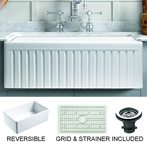 Empire Industries SP33SG Sutton Place Reversible Farmhouse Fireclay Kitchen Sink with Grid and Strainer, 33 , White