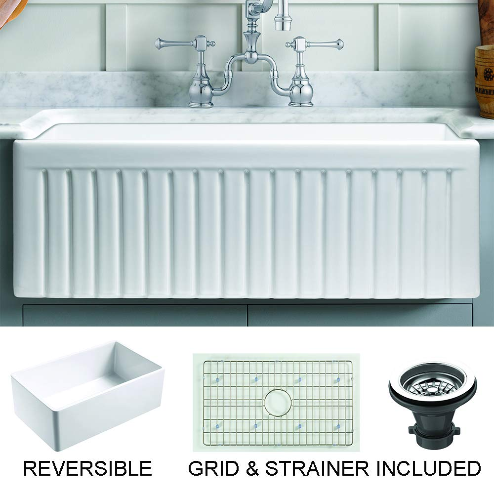 Empire Industries SP33SG Sutton Place Reversible Farmhouse Fireclay Kitchen Sink with Grid and Strainer, 33'', White by Empire Industries