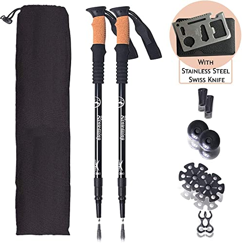 Walkly Trekking-Pole Lightweight Collapsible and Adjustable Walking-Sticks for Sports Outdoor Camping and Ski Suitable for Men and Women 2 Packs