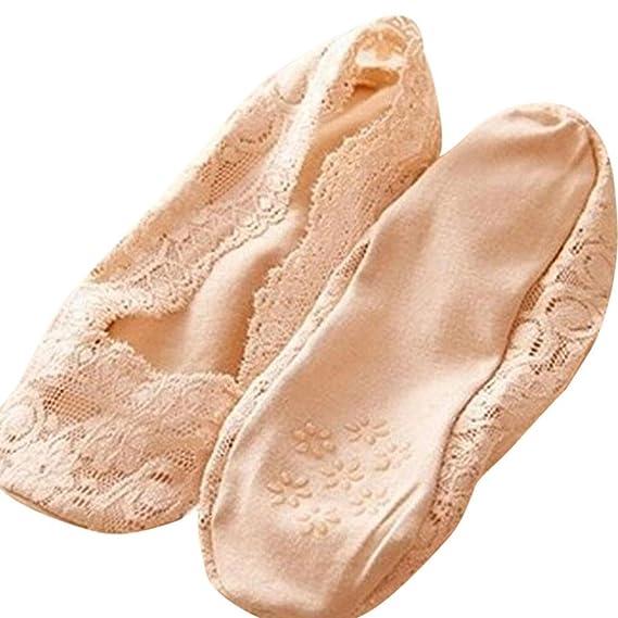 BaZhaHei-Calcetines Calcetines Corte bajo Antideslizantes Invisibles del trazador de líneas calcetín Mujer Socks del