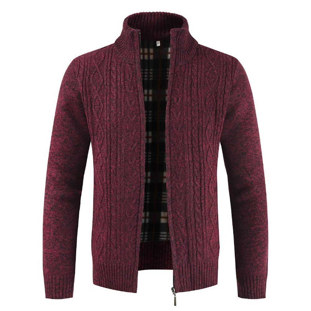 Close-dole Cotton Knitted Cardigan Full Zip Sweater Outwear Tops Coats Slim Fit Stand Collar Sweater Casual Thick Warm Jacket Red by Close-dole