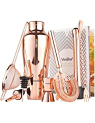 VonShef Premium Parisian Cocktail Shaker Barware Set in Gift Box with Recipe Guide, Cocktail Strainers, Twisted Bar Spoon, Jigger, Muddler and Pourers, Copper, 9 Piece