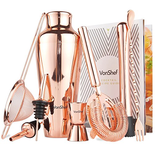 VonShef Premium Copper Parisian Cocktail Shaker Barware Set in Gift Box with Recipe Guide, Cocktail Strainers, Twisted Bar Spoon, Jigger, Muddler and (0.5 Ounce Cocktail Glass)