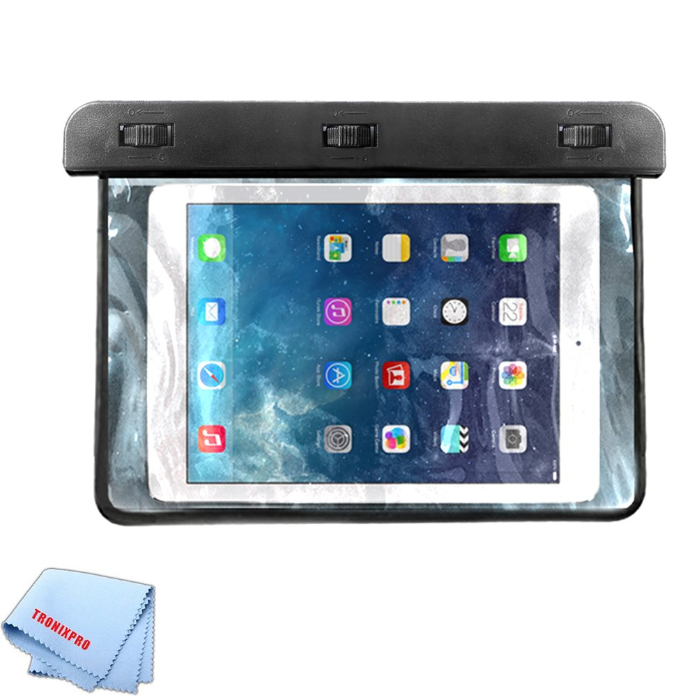 Tronixpro Universal Waterproof Bag for Apple iPad Mini 1,2,3,4, Samsung Galaxy Tab, Lenovo Tab 3 and Other Small Tablets up to 8.5 inches + Microfiber Cloth