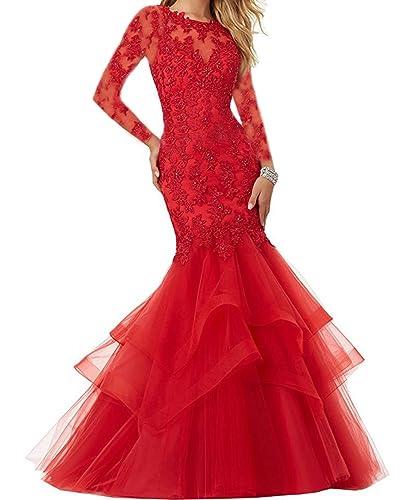 Ellenhouse Women's Long Sleeve Mermaid Applique Prom Party Evening Dresses EL339
