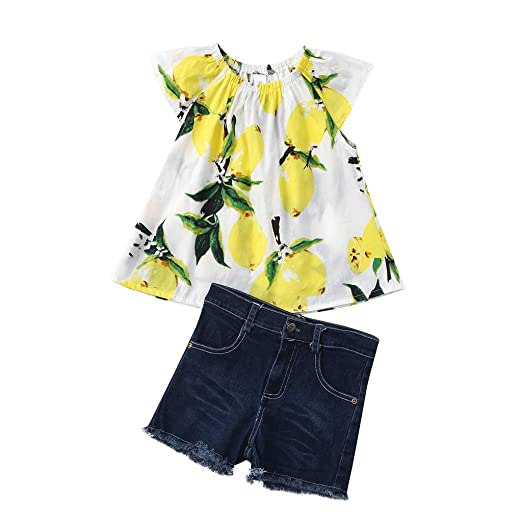 30ddaf201 Amazon.com: Diufon Toddler Girls Cartoon Lemon Print Fly Sleeve T-Shirt Tops+Hole  Jeans Shorts Pants Beach Party Outfit Sets: Clothing