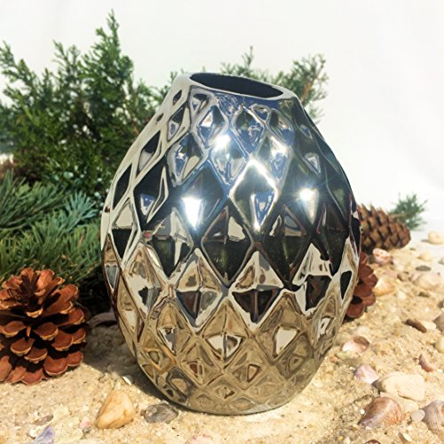 The Iconic Scandinavian Style Vase with Faceted Diamond Pattern, Silver Glaze Over Stoneware, 5 1/8 Inches High, By Whole House Worlds