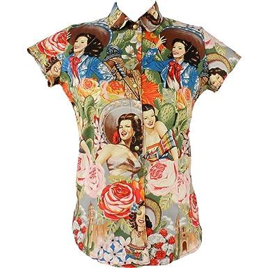 27d0cb42c36 Amazon.com  Hemet Women s Rockabilly Se orita Cactus Top Cream ...