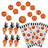 Basketball Party Favors for 12 - Bouncy Basketballs (12), Basketball Whistles (12), Basketball Theme Favor Bags and Happy Birthday Sticker