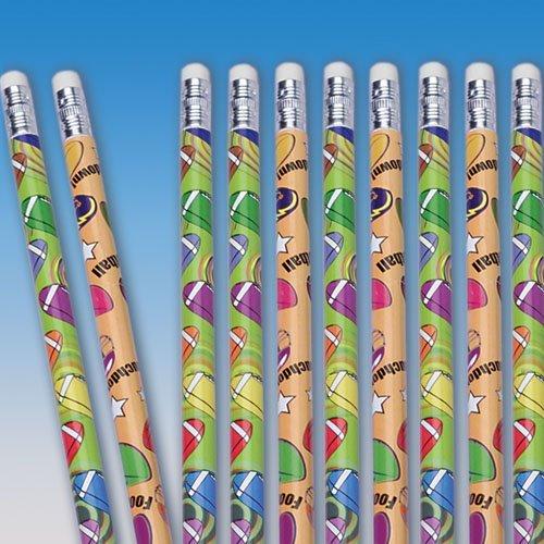 Dozen Assorted Football Design Wooden #2 Pencils - (Football Pencils)