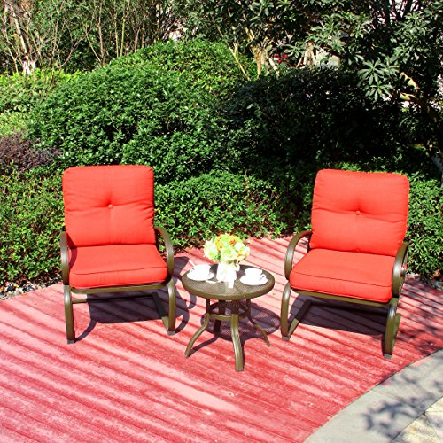 Cloud Mountain 3 PC Patio Bistro Set Outdoor Cafe Furniture Seat, Wrought Iron Frame Round Table, 2 Chairs, Garden Set with Cushioned Seats, Brick Red