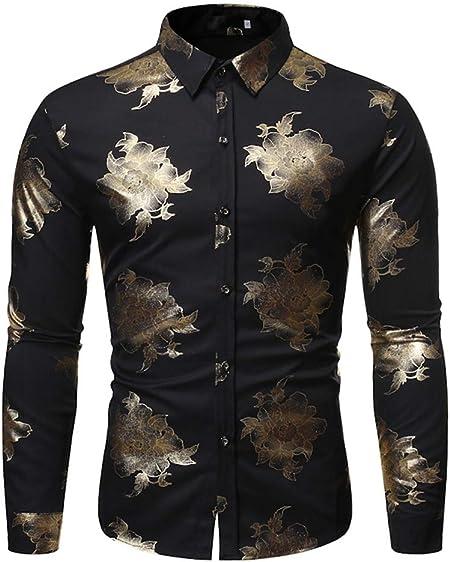 LISILI Camisa De Hombre Manga Larga Hipster Oro Flores 3D Impreso Ajustado Abotonar Camisa De Vestir/Camisas De Baile De Graduación,Negro,XL: Amazon.es: Hogar