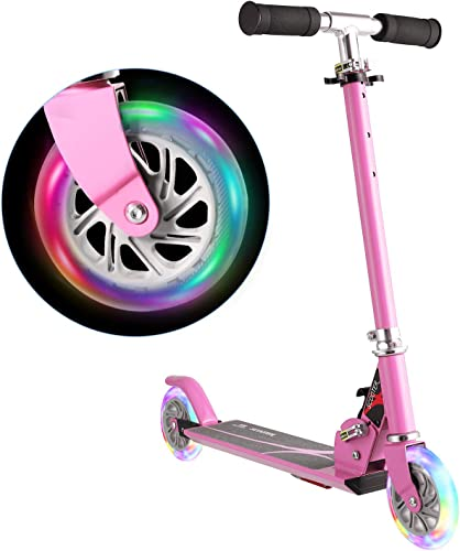 WeSkate Scooter for Kids Foldable 2 Wheel Light Up Kick Scooter for Girl Adjustable Height Gift for 3-14 Years