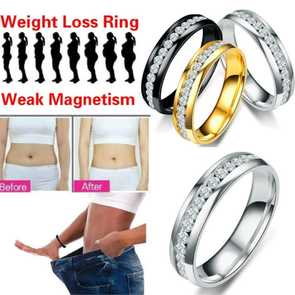 QiQiFanFan Crystal Ring Healthcare Weight Loss Ring Slimming Healthy Stimulating Acupoints Gallstone Ring Magnetic Therapy Gold 8