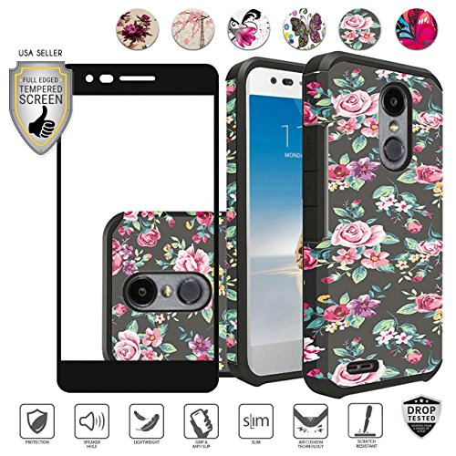 Lg Zone 4 Case, Lg Rebel 3 Case, Lg Aristo 2 Case, LG Tribute Dynasty Case, with Tempered Screen Protector, Design Tough Hybrid [Shockproof] Armor Defender Case (Tropical Flower)