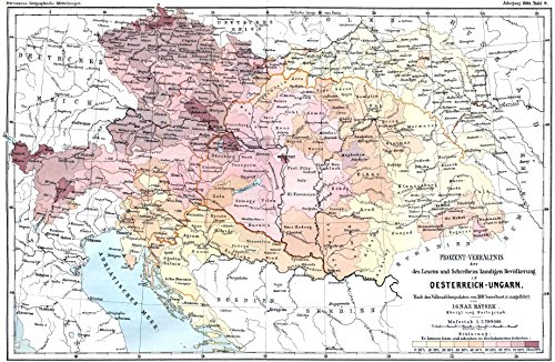 Home Comforts LAMINATED POSTER Map of Literacy in Austria-Hungary 1880-1881 POSTER PRINT 24 X 36 1881 Poster Print