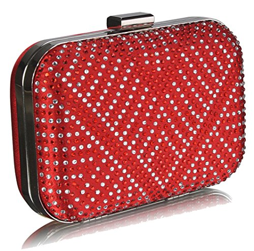 Case Red FREE DELIVERY Diamante Hard Clutch Gorgeous Bag UK fTWZZUY