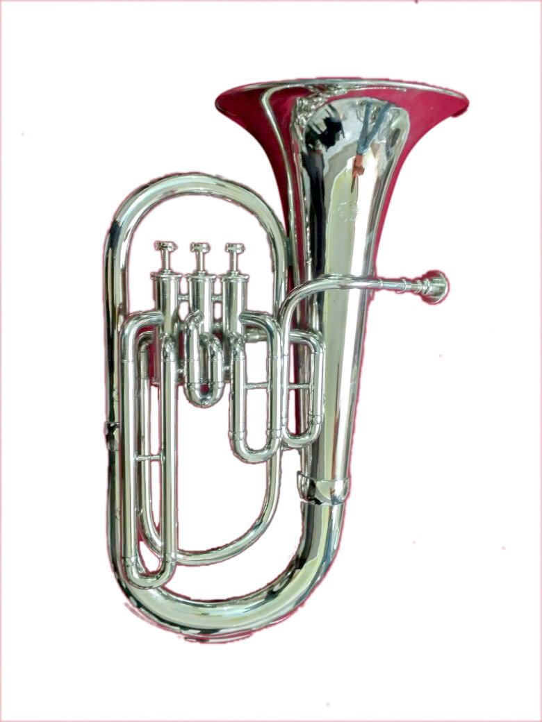 Surbhi Music 3 Valve Siver Chrome Euphonium Bb Pitch Eupho Brass Musical Instrument With Free Case Box & Mouth Pc.