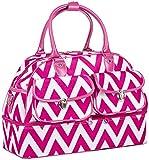 Ever Moda Chevron Women's Drop Bottom Duffel Bag (Pink)
