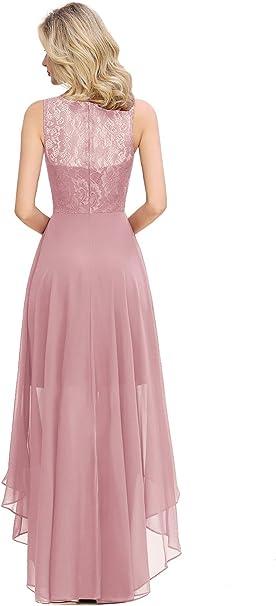 Babyonline/® Ballkleid Spitzen Chiffonkleid Abendkleid Asymmetrisch Cocktailkleid Maxilang Gr.32-46
