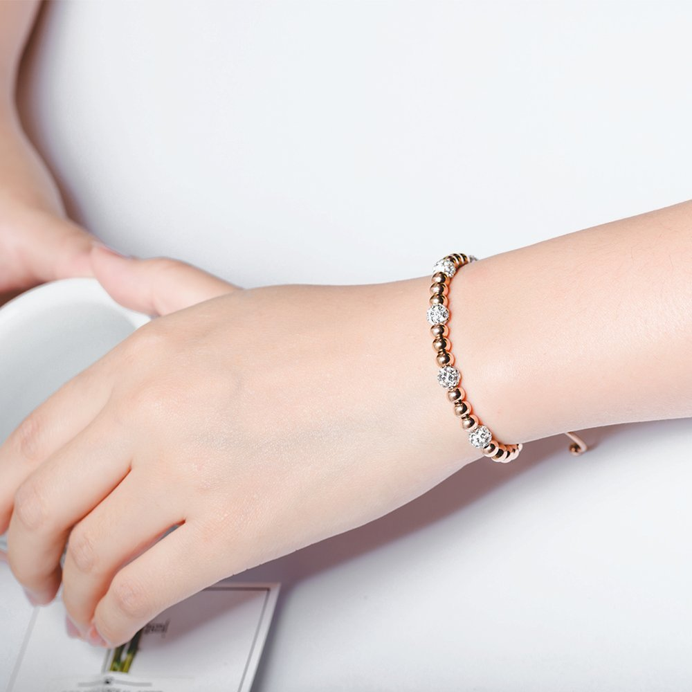 Mishow Rose Gold Plated Stainless Steel Cubic Zirconia Adjustable Bead Bracelet for Women Girls