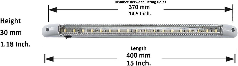 2 pezzi con interruttore on//off tensione operativa 24 V per interno della cabina di camion e autoarticolati Strisce luminose con 18 LED ciascuna lunghezza 400 mm