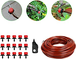 100ft 1/4 inch Drip Irrigation Tubing,Blank Distribution Tubing,Plant Watering System,15 Adjustable Drippers + Punch Tool,Automatic Irrigation Equipment Set for Garden Greenhouse,Flower Bed,Patio,Lawn