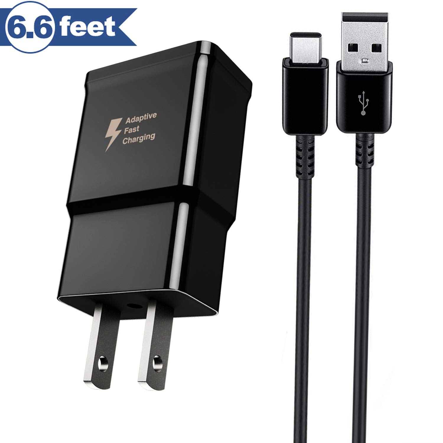 Baoota Quick Charge 3.0,USB Type-C Cable with Adaptive Fast Wall Charger Compatible for Samsung Galaxy S8 S8 Plus S9 S9 Plus,LG G6 G5 V30 V20, Google Pixel 2 Nexus 5X 6p by Baoota