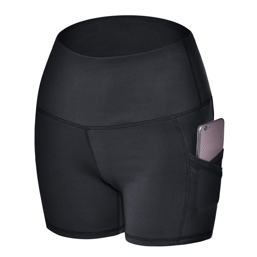YOMXL Shorts Bike Running Yoga Hidden Pockets - Women's Tummy Control Fitness Athletic Workout Running Yoga Shorts by YOMXL