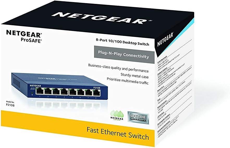 Netgear FS105-300UKS ProSAFE Commutateur Fast Ethernet de Bureau 10//100 5/Ports Commutateur Ehternet 5 Ports Bleu