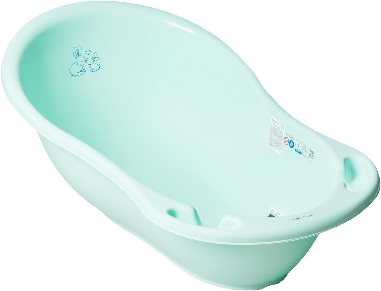 Tega Baby ® - Bañera ergonómica para bebé de 86 cm con termómetro integrado – Tapón para drenaje de agua Tapón de drenaje seguro para baño Bebé Bañera 0 – 12 meses verde Conejo – verde.