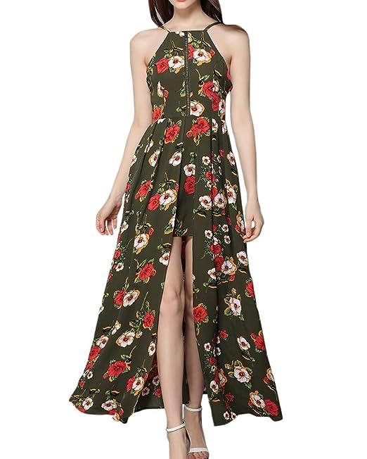 Mujer Vestidos De Fiesta En Flores Sin Manga Elegantes Vestidos Noche Vestidos De Playa Largos Verde