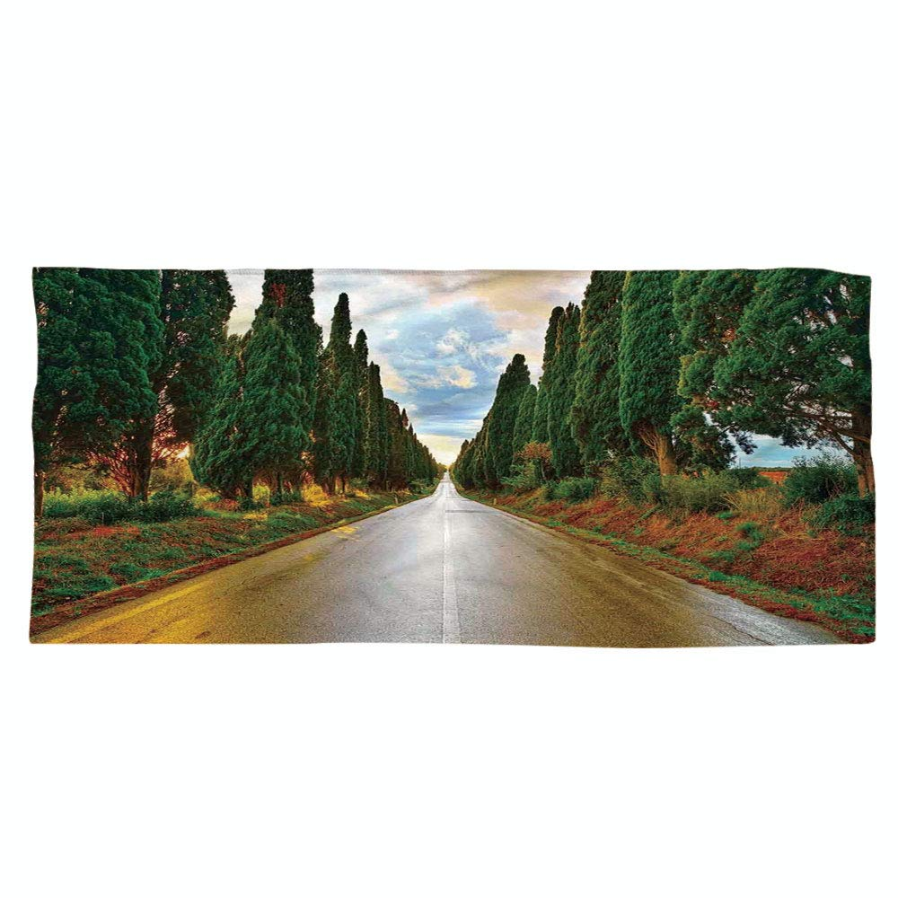 iPrint Large Cotton Microfiber Beach Towel,Tuscan Decor,Large Boulevard with Trees in Old European Village Country Life Destination Artistic Photo,Multi,for Kids, Teens, and Adults