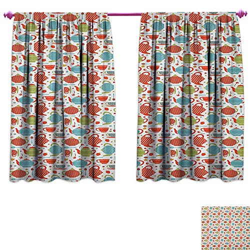 homefeel Tea Party Thermal Insulating Blackout Curtain Colorful Tea Party Illustration with Pots Cups Spoons on Colorful Dotted Pattern Decor Curtains by W55 x L39 Multicolor