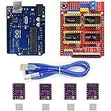 Xlp CNCシールド拡張ボードV3.0 + UNO R3ボード+ Arduino用ヒートシンクキット付きステッピングモータドライバDRV8825