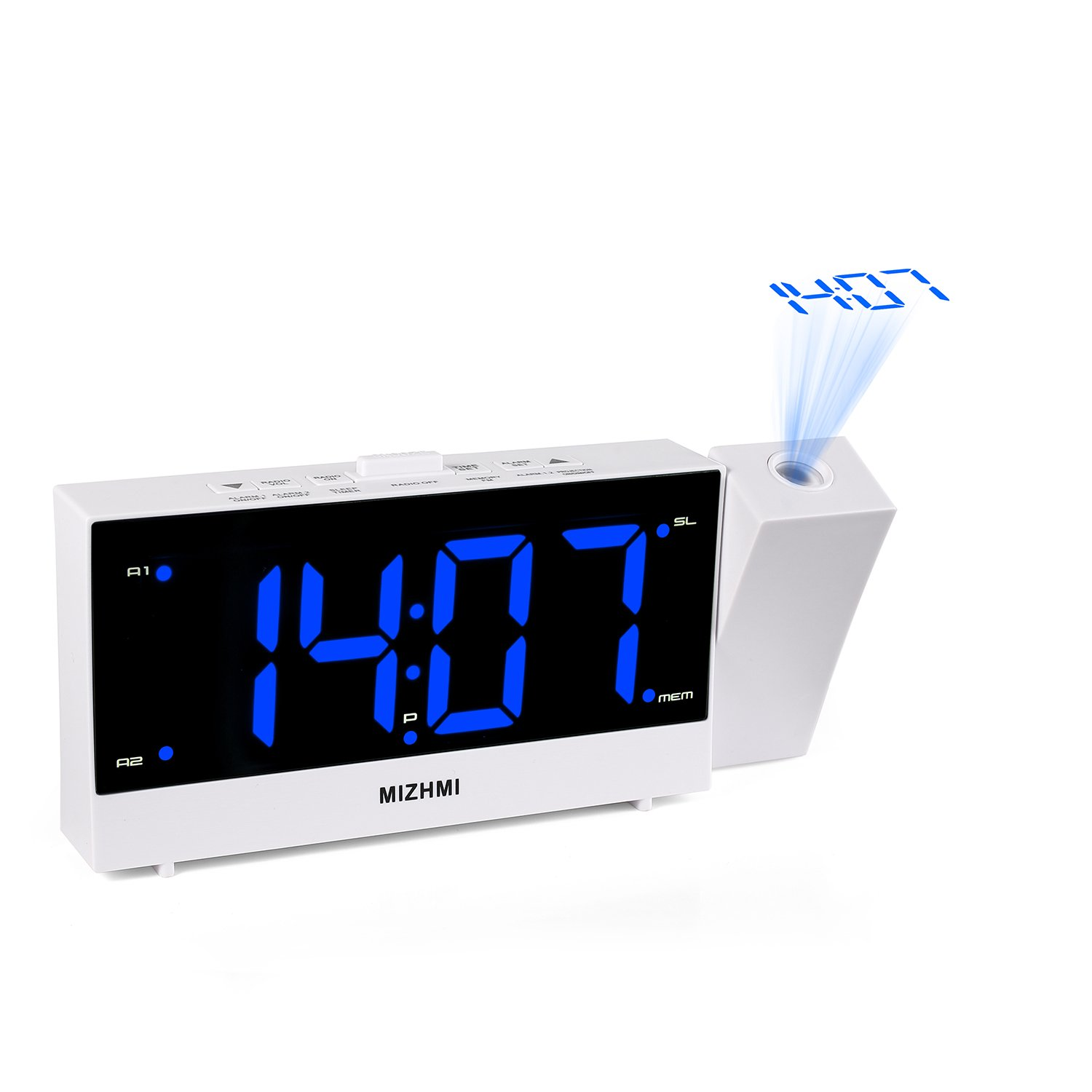 MIZHMI Projection Alarm Clock, Dual Alarms with FM Radio USB Charging Dimmer 5.5