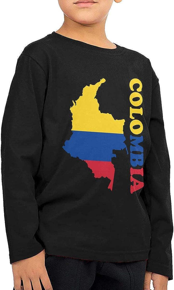 CERTONGCXTS Baby Girls Little Boys Colombia Flag Map ComfortSoft Long Sleeve Shirt