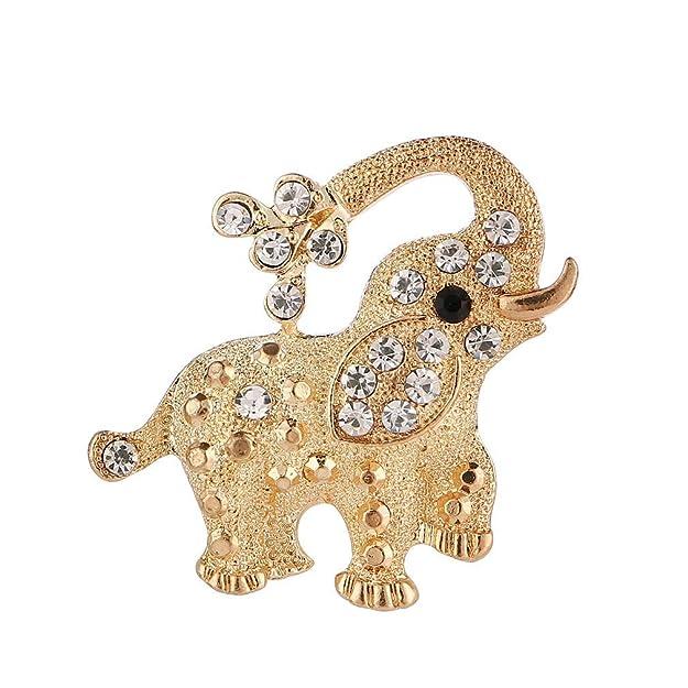 Ogquaton Brillo Elefante Broche Rhinestone Exquisi...